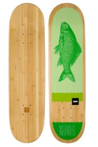 Bamboo Skateboards Green Fish Graphic